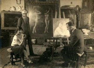 Valle-Inclán con Romero de Torres y la actriz María Banquer. Madrid, 1926