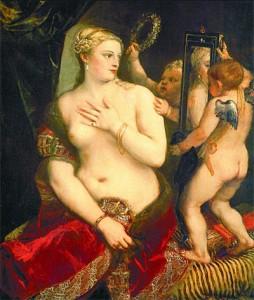 Venus en el espejo. Tiziano. 1555