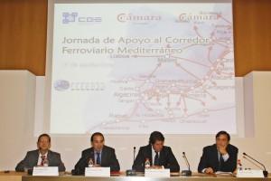 Decenas de empresarios y representantes políticos y alcaldes participan en un acto de apoyo al Corredor Mediterráneo con la asistencia del secretario general de Ferrmed, Joan Amorós