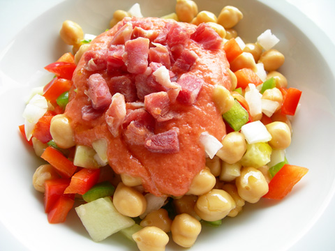 Garbanzos fros con salmorejo