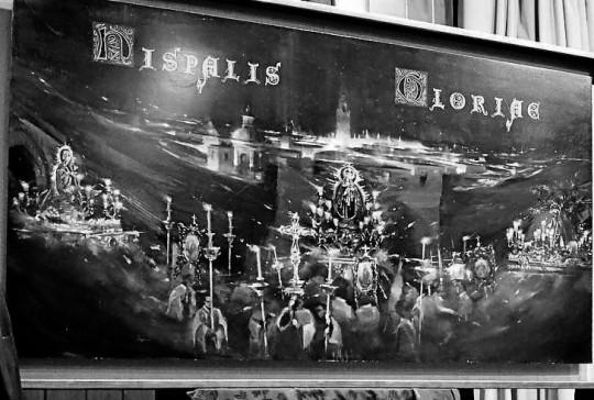 Círculo Mercantil. Calle Sierpes. Presentación del cartel de las Glorias realizado por Miguel Ángel González