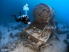 La locomotora que se hundió con el Thistlegorm, en el Mar Rojo