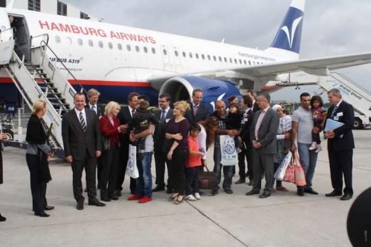 Refugiados sirios a su llegada a Alemania. / ACNUR