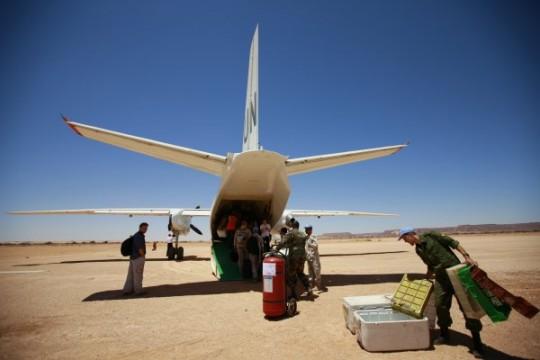 Avión de los cascos azules en el Sahara Occidental. / UN Photo