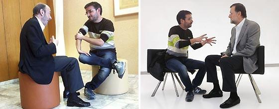 Jordi Évole con Rubalcaba a la izquierda y Rajoy a la derecha. / Efe