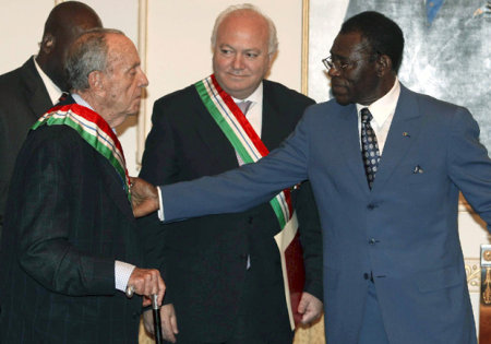 Fraga, Moratinos y Obiang, ayer en Bata