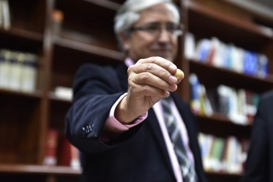 El secretario de la Audiencia, Luis Revilla, muestra la bola con la que se elegió la sección para el juicio de los ERE.