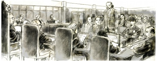 Una ilustración de Daniel Rosell sobre el juicio al clan de los Perla
