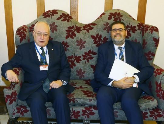 El consejero del Tribunal de Cuentas José Manuel Suárez Robledano y el presidente de la Cámara de Cuentas de Andalucía Antonio López. Foto: Esteban Cobo / UIMP