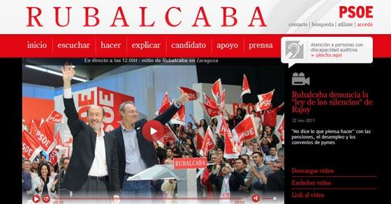 Encabezamiento de la web electoral de Rubalcaba