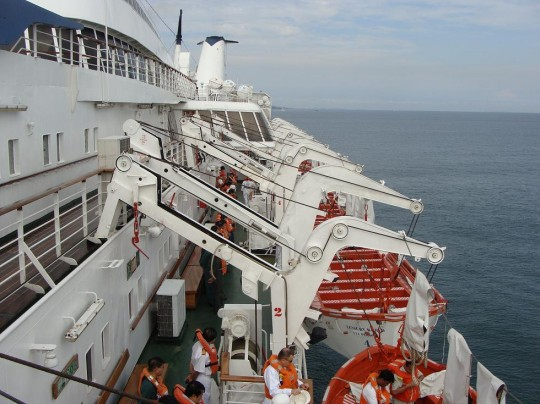 lifeboats to embarkation deck