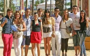 Jugadores del Xerez con sus parejas el pasado lunes