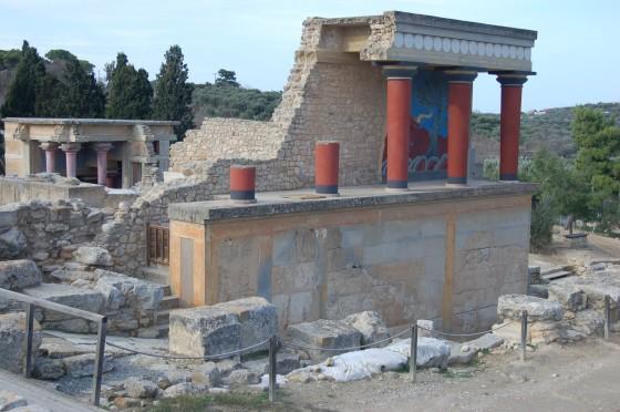 El palacio minoico de Cnosos, en Creta, solitario un domingo de enero.