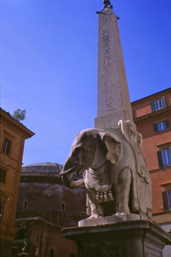 El Elefantino de Bernini,y el Panteón detrás
