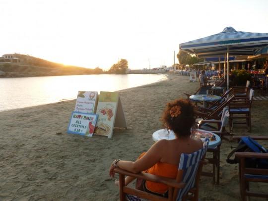Puesta de sol romántica para el amor con Grecia.