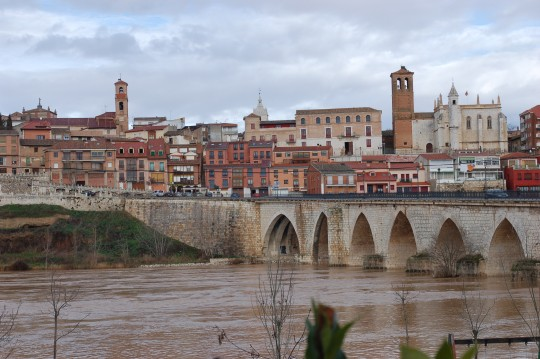 Vista de Tordesillas y del puente sobre el río Duero.