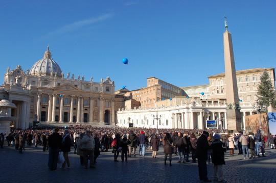 La plaza de San Pedro de Roma, en el día de Año Nuevo.