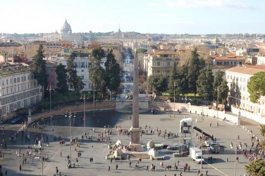 Vista de la Piazza del Popolo y de Roma, desde el mirador del Pincio.