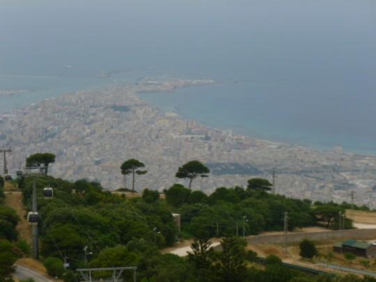 Vista de Trapani, desde las alturas de Erice.