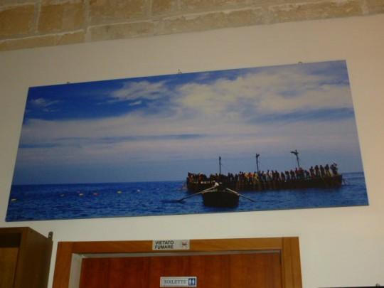 Foto de una 'almadraba' siciliana, la 'mattanza', en el restaurante.