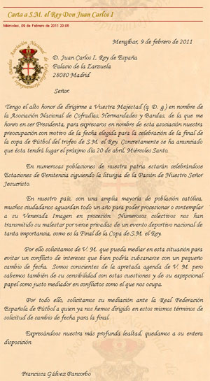 Carta emitida por la Asociación