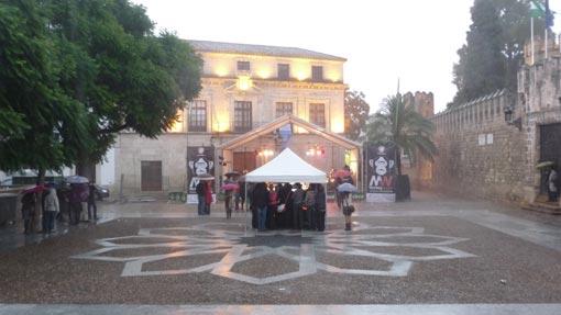 Aspecto de la Plaza de Alfonso X durante la actuación e Tannhäuser el domingo.